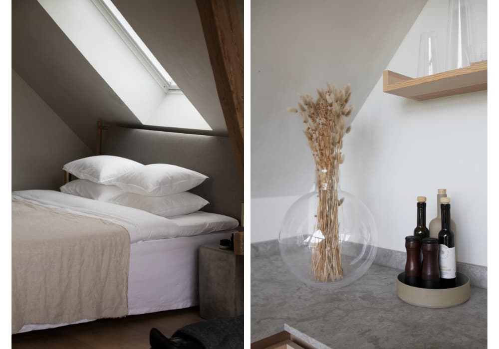two images from typeo loft one showing the bed and the other showing the kitchen